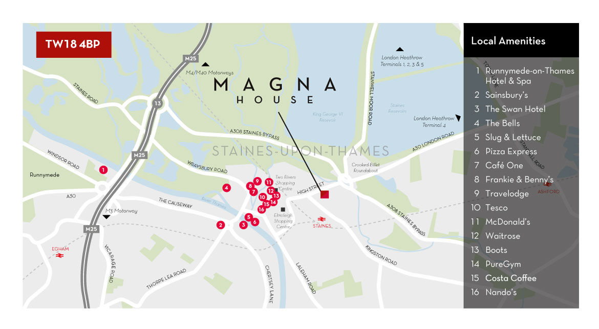 Local Amenities around Magna House, 18-32 London Road, Staines-upon-Thames